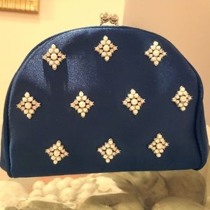 Navy Kate Landry Clutch with pearl and crystal acc